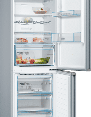 Série 4, Réfrigérateur combiné pose-libre, 186 x 60 cm, Couleur Inox KGN36VLEC